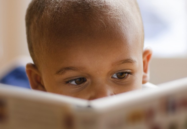 Little boy intently reading a book
