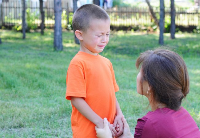 Mother holds hands and calms down crying toddler outside