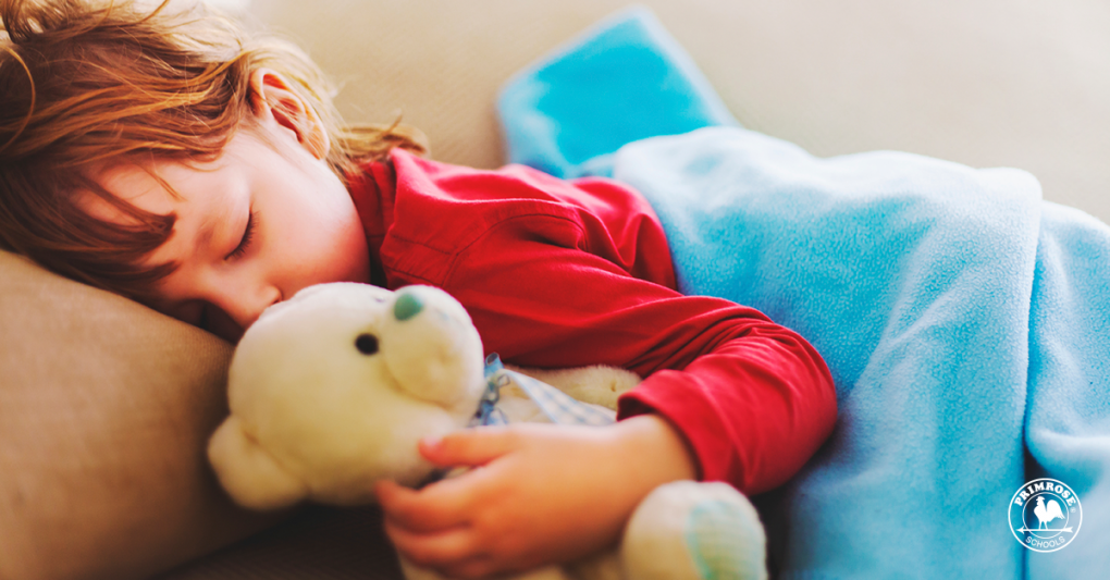 Little child sleeps soundly cuddled with her teddy bear