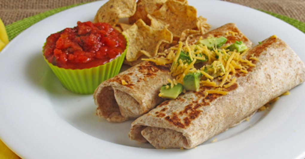 Zucchini bean and cheese burritos served with salsa and chips