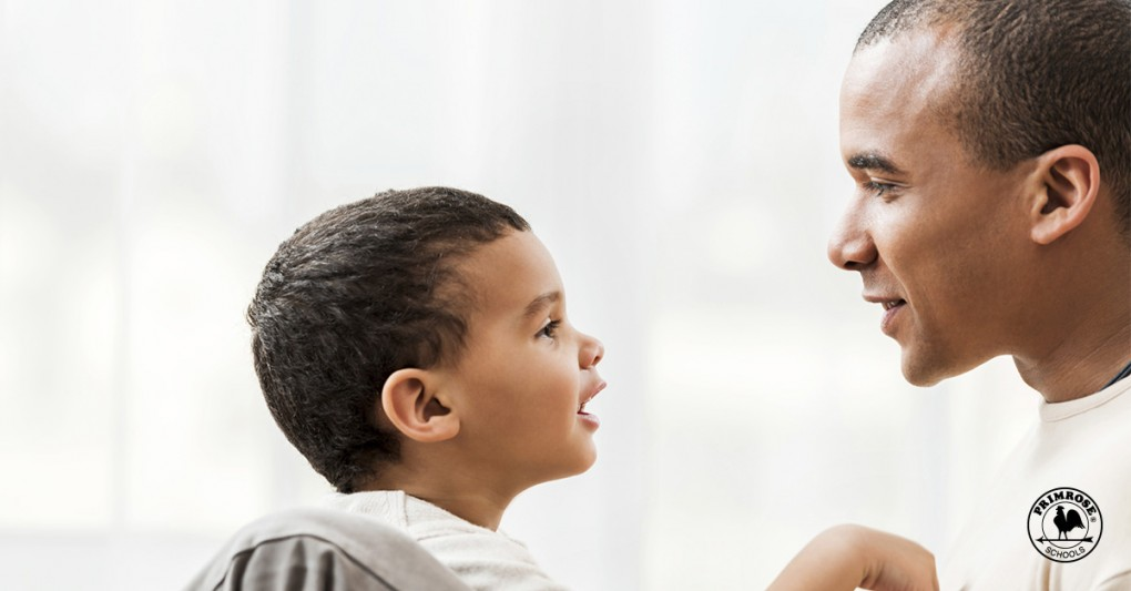 A father talking to his son about disasters
