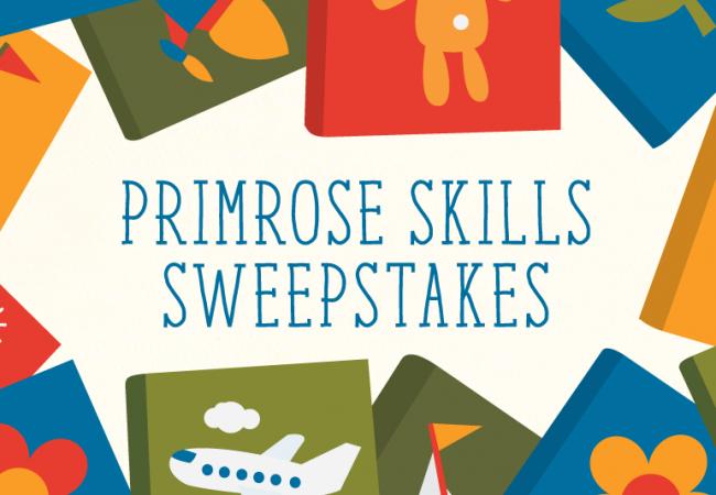 Illustration of kid's books promoting the Primrose skills sweepstakes