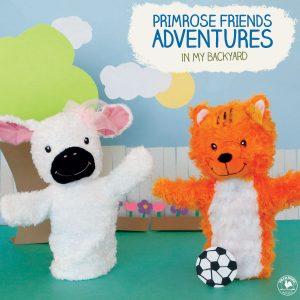 Primrose Puppets describing Friends Adventure in Backyard