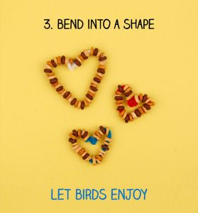 String pieces of cereal onto the pipe cleaner bend in heart shape