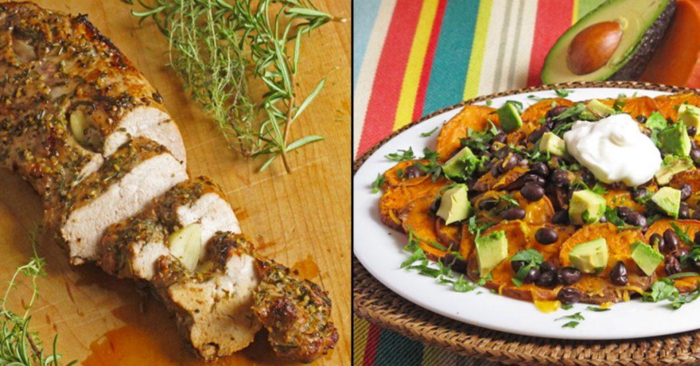 Herb and garlic roasted pork tenderloin and loaded sweet potato nachos