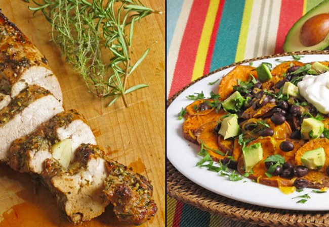 Herb and garlic roasted pork tenderloin and loaded sweet potato nachos