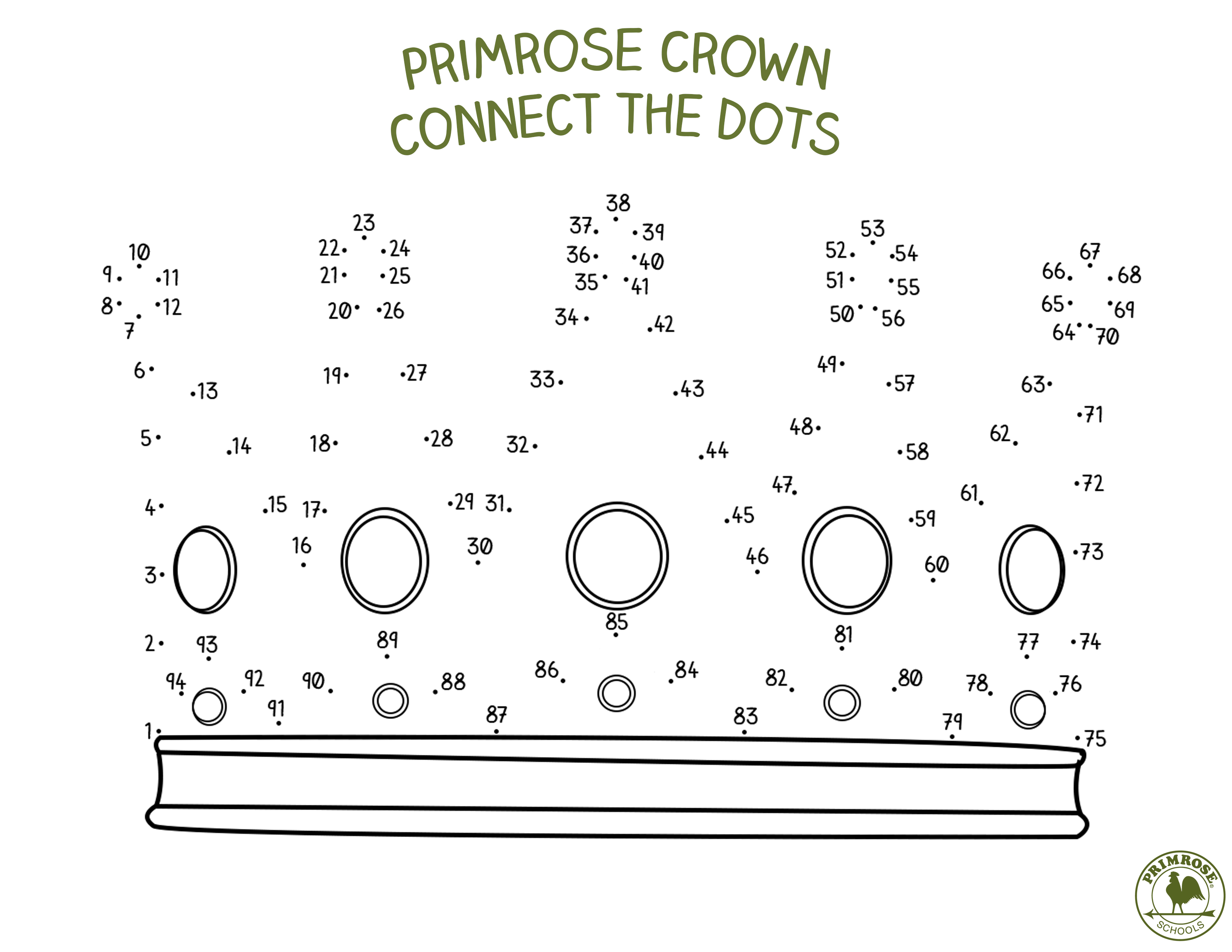 connect the dots to complete the crown u2013 primrose schools