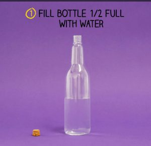 Bottle half filled with water