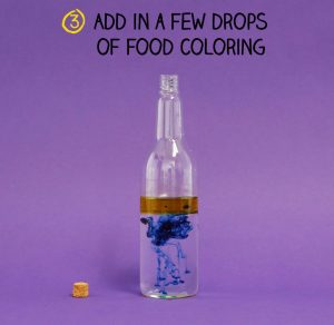 Bottle half filled with water, one fourth oil and few drops of blue food color