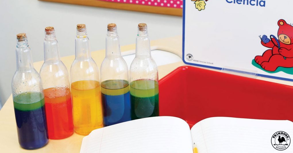 Potion bottles filled with colored water and oil