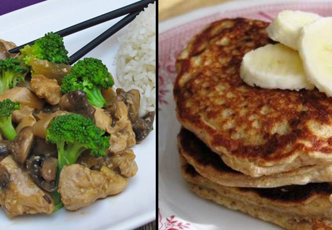 Chicken and broccoli stir fry and banana coconut pancakes