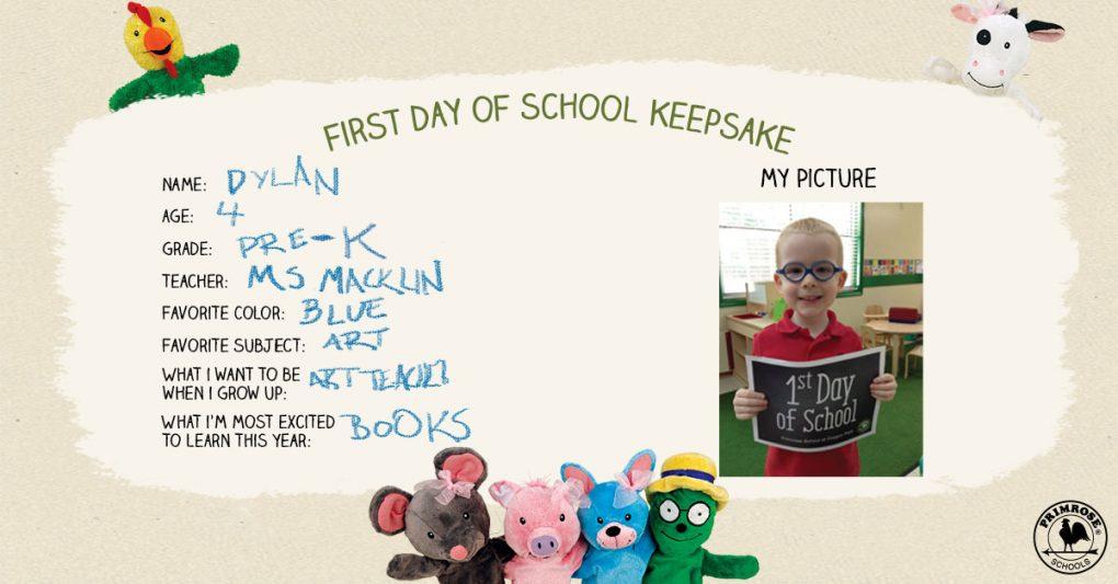 Primrose first day of school keepsake poster