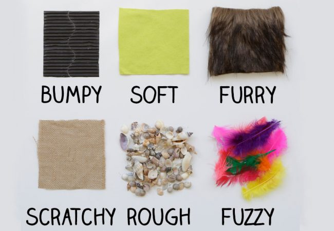 Texture board highlighting bumpy, soft, furry, scratchy, rough and fuzzy textures using squares of different material