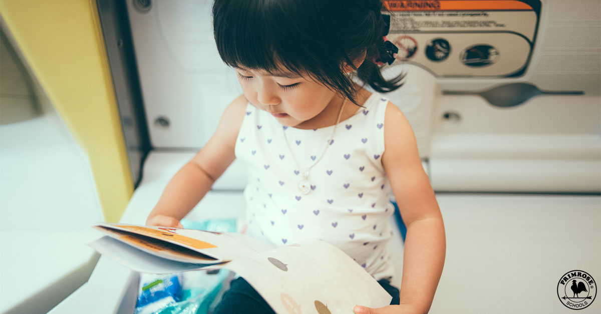 Little girl intently reads a book