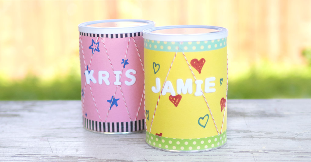 DIY recycled drums made from snack tins