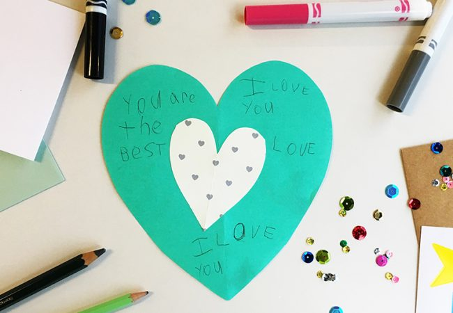 DIY heart-shaped card made by child