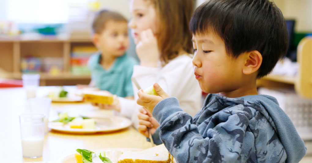 Young children enjoying a healthy meal in the classroom