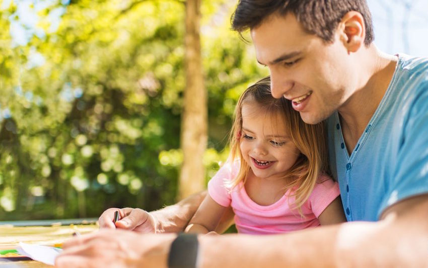 Dad helps his young daughter create an emergency plan.