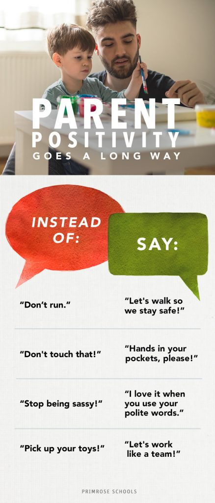 """An infographic with """"say this, not that"""" phrases for parents."""