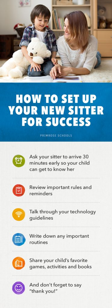 A graphic list of how to set up a babysitter for success
