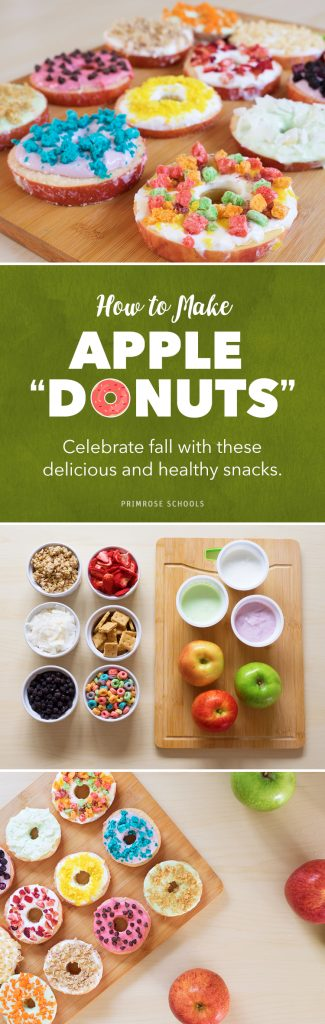 Step by step photos of how to make apple donut snacks