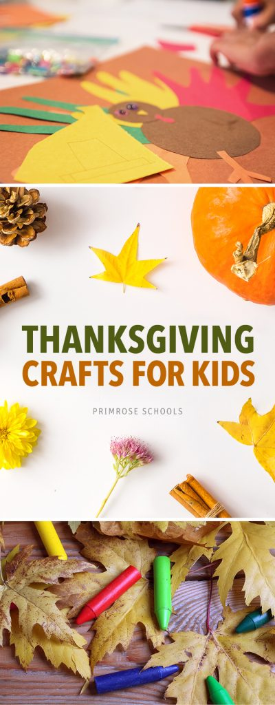 Graphic showcasing thanksgiving crafts for kids with art supplies