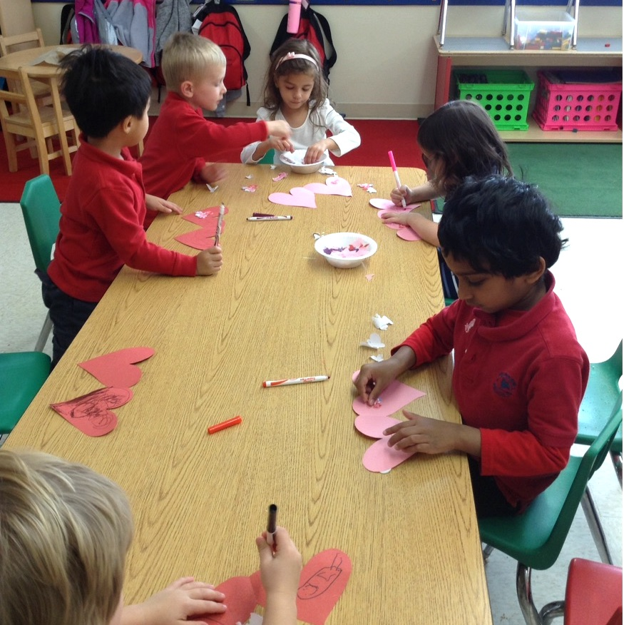 Primrose Students making Valentine's Cards