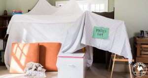 Blanket fort in living room