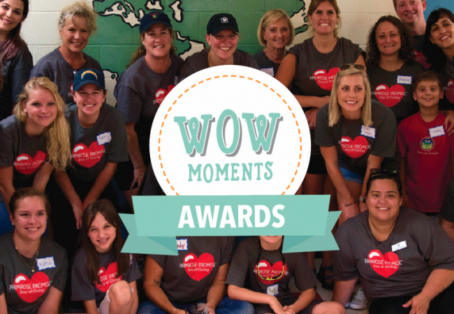 Wow Moment Award Winners pose during their day of service