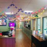 Primrose school with ceiling decorated with book chains for Read Across America Day